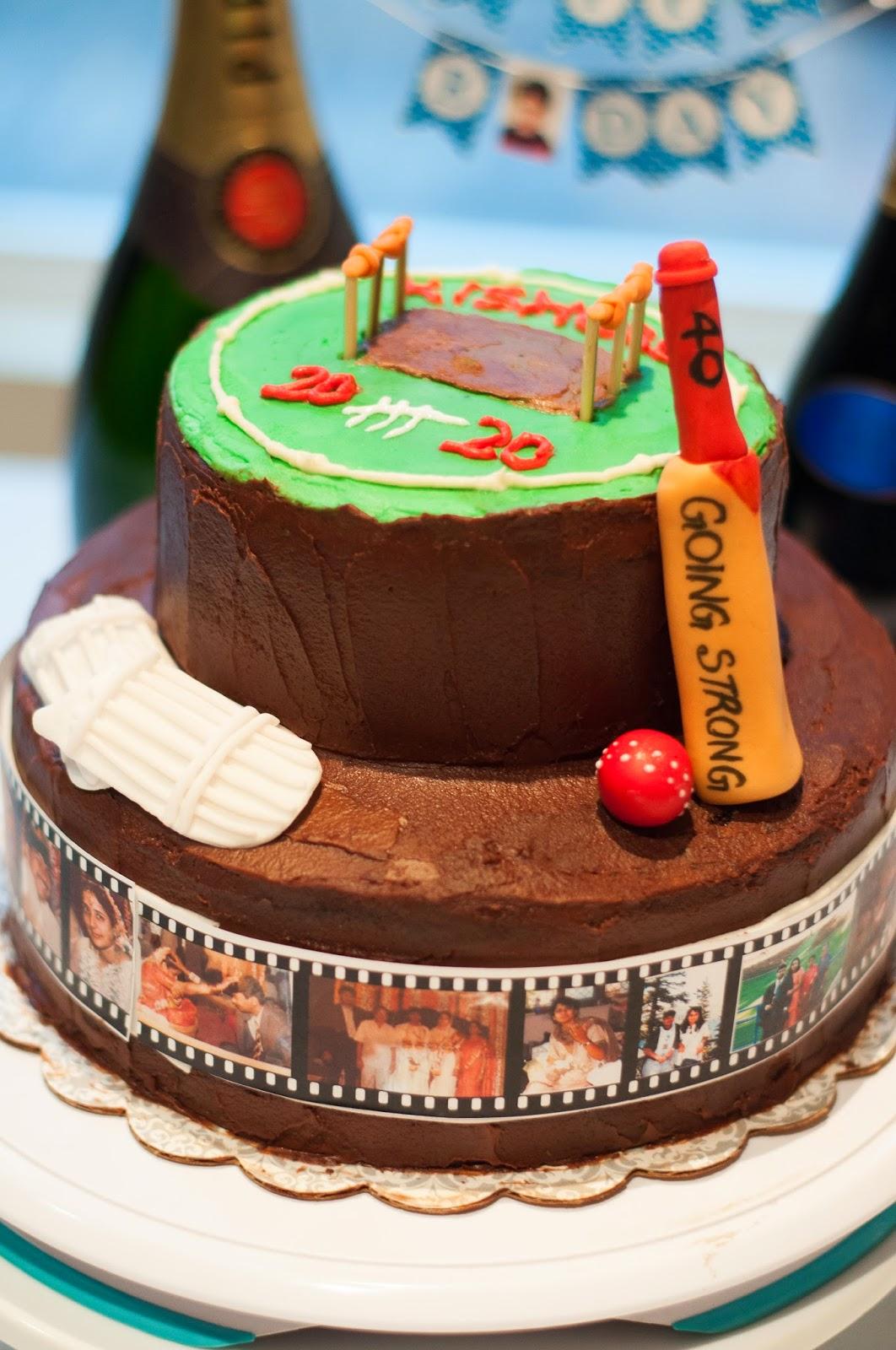 Sailajas Recipes Cricket theme Cake for a milestone birthday Party