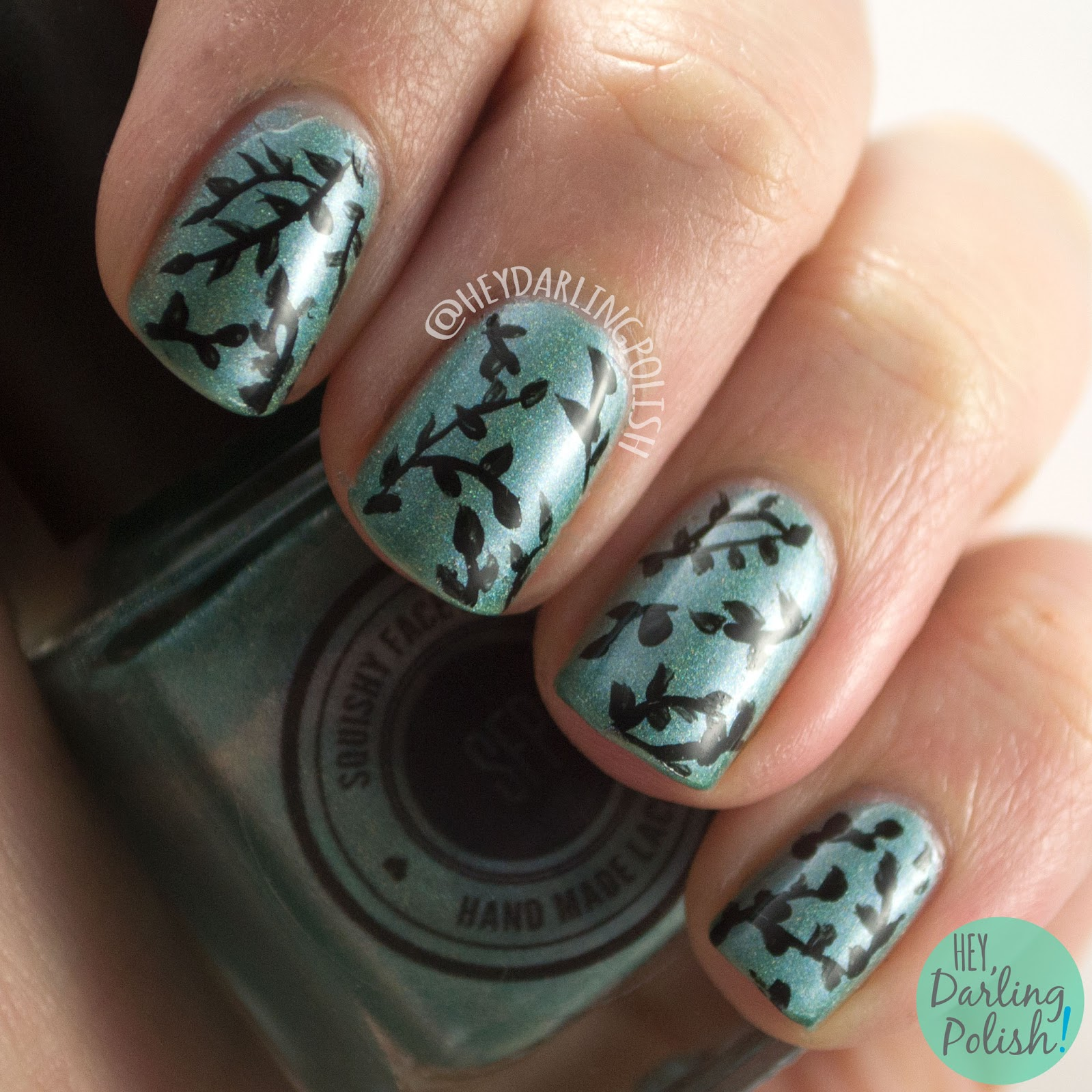 nails, nail art, nail polish, holo, teal, leaves, hey darling polish, nature nail art, 2015 cnt 31 day challenge