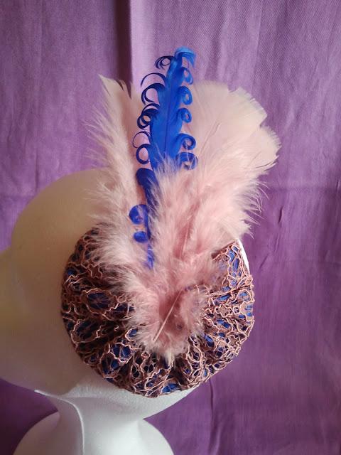 tocados, baratos, encaje, azul cobalto, rosa palo, plumas, económicos