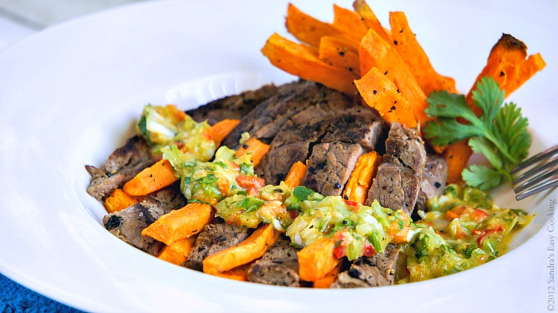 Homemade and delicious with the easy recipe Roasted Sweet Potato Fries with Steak