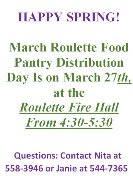 3-27 Roulette Food Pantry Distribution