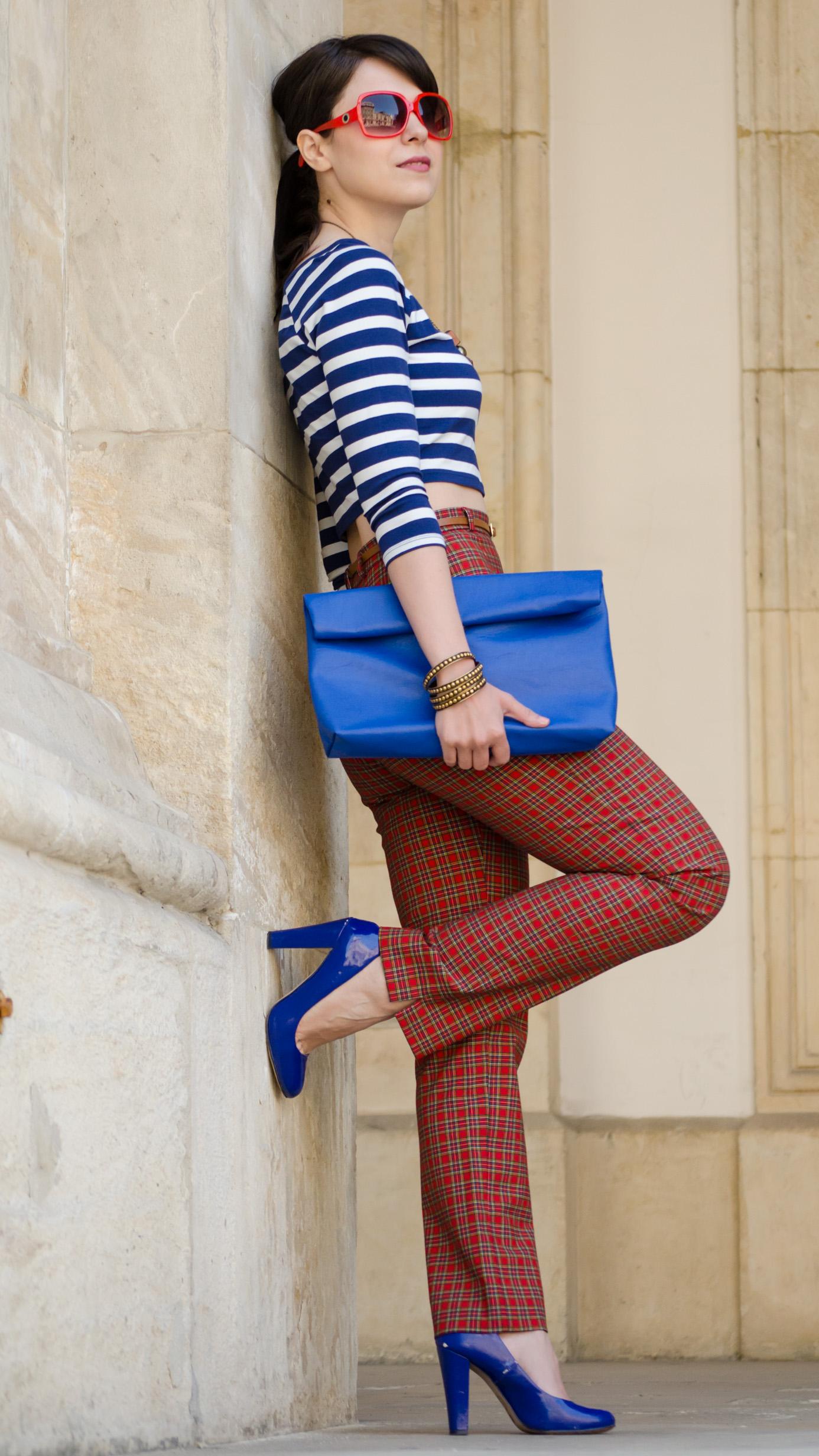 crop top high waist pants tartan blue stripes