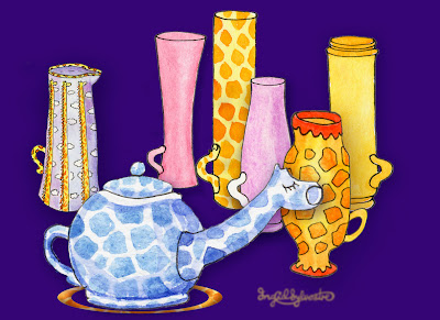 Lots of tea for giraffes - teapot and mugs - Ingrid Sylvestre