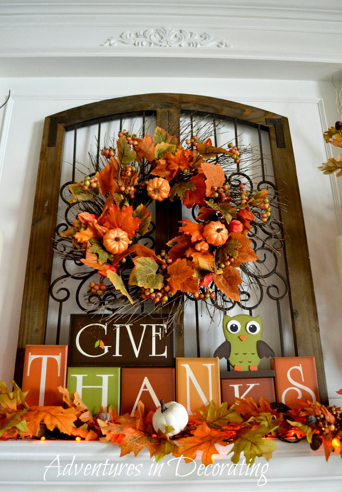 Adventures in decorating our fall mantel - Thanksgiving decorations ...