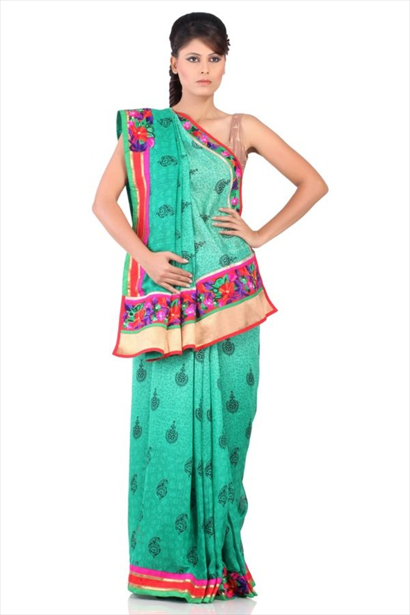 latest Amazon Green Net Saree