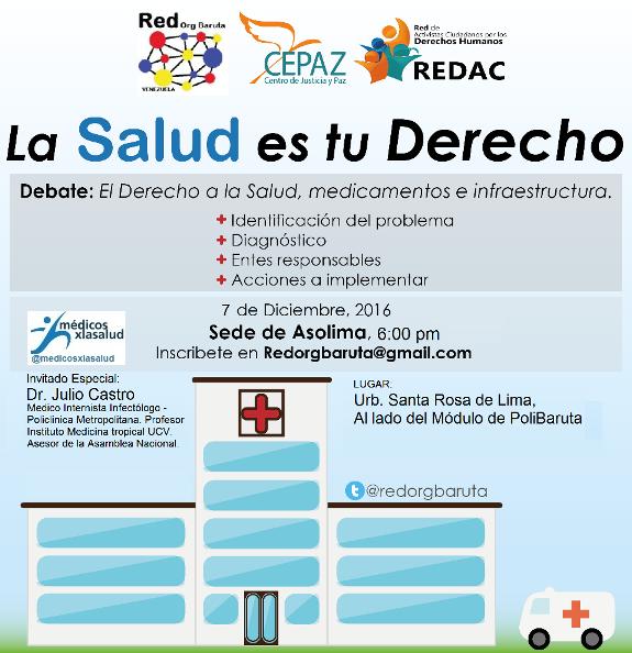 """La @RedOrgBaruta invita: """"La Salud es Tú Derecho"""""""