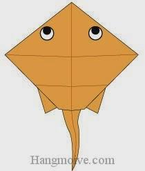 Bước 18: Vẽ mắt để hoàn thành cách xếp con cá đuối bằng giấy theo phong cách origami.