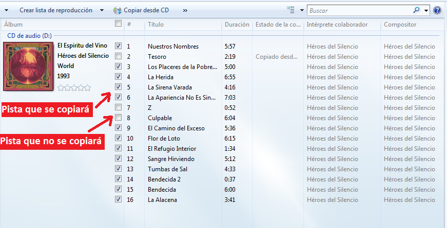 Pistas Windows media player