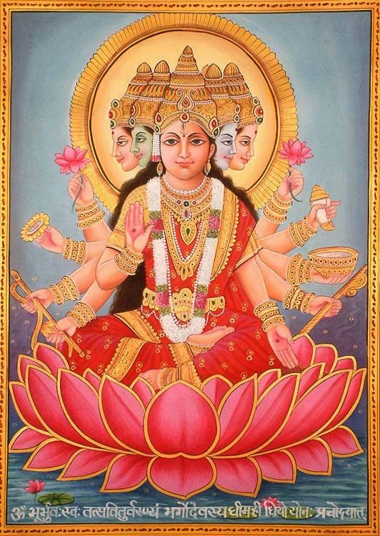 "Gayatri Devi the Goddess Gayatri Devi the Goddess is considered the veda mata, Essentially, the Goddess is seen to combine all the phenomenal attributes of Brahman. Goddess Gayatri is also worshipped as the Hindu Trimurti. Some also consider her to be the mother of all Gods and the culmination of Lakshmi, Parvati and Sarasvati.   About Gayatri Mantra  What is a Gayatri mantra, It is a jewel among the treasures that is handed down from generation to generation. To be initiated into this sacred mantra is a great privilege. The sound or even the thought of the Gayatri's verse sets grace in action. Those who are called by her are initiated into her power by the Master.  The Gayatri Mantra is first recorded in the Rig Veda (iii, 62, 10) which was written in Sanskrit about 2500 to 3500 years ago, and by some reports, the mantra may have been chanted for many generations before that. Gayatri Mantra is a highly revered mantra in Hinduism, second only to the mantra Om. Since all the other three Vedas contain much material rearranged from the Rig Veda, the Gayatri mantra is found in all the four Vedas. The deva invoked in this mantra is Savitr, and hence the mantra is also called Savitri.  Gayatri is typically portrayed as seated on a red lotus, signifying wealth. She appears in either of these forms:  1. Having five heads with the ten eyes looking in the eight directions plus the earth and sky, and ten arms holding all the weapons of Vishnu, symbolizing all her reincarnations.  2. Accompanied by a white swan, holding a book to portray knowledge in one hand and a cure in the other, as the goddess of Education.    ""Aum Bhoor Bhuwah Swaha, Tat Savitur Varenyam, Bhargo Devasaya Dheemahi, Dhiyo Yo Naha Prachodayat"""