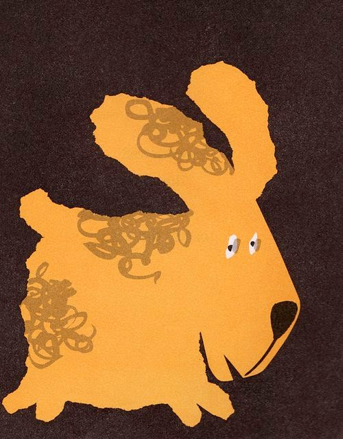 simple cute brown dog illustration by Abner Graboff