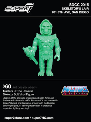 "San Diego Comic-Con 2015 Exclusive ""Prototype Light Green"" Skeletor Soft Vinyl Figure by Super7 x Gargamel x Mattel"