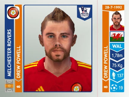 Drew Powell Melchester Rovers Panini 2014/15