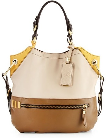 Sydney Colorblock Tote Bag, Natural