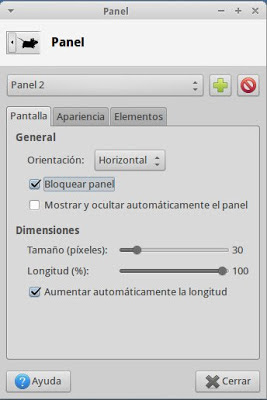 configuración del panel de Xubuntu