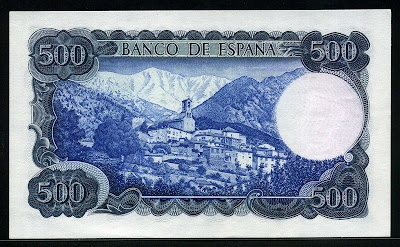 Spain currency money 500 Pesetas Mount Canigo Village of Vignolas d'Oris