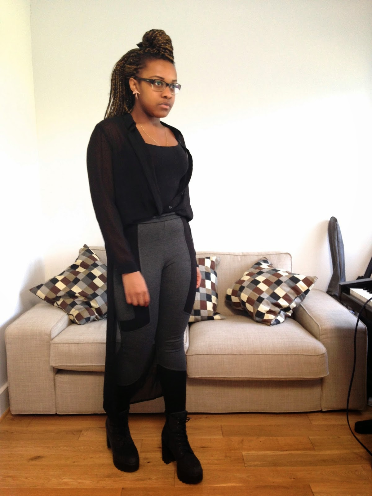 HM Kimono Shirt Top Topshop Leggings New Look Chunky Cleated Sole Black Boots