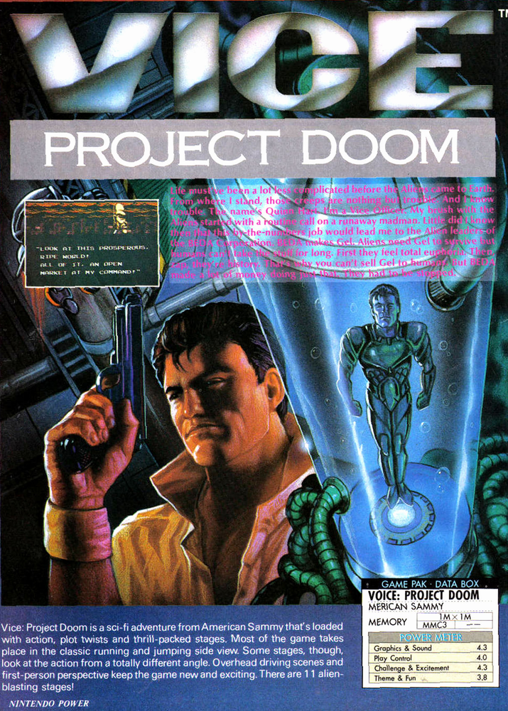 vice project doom Play vice - project doom game that is available in the united states of america (usa) version only on this website vice - project doom is a nintendo emulator game that you can download to your computer or play online within your browser.
