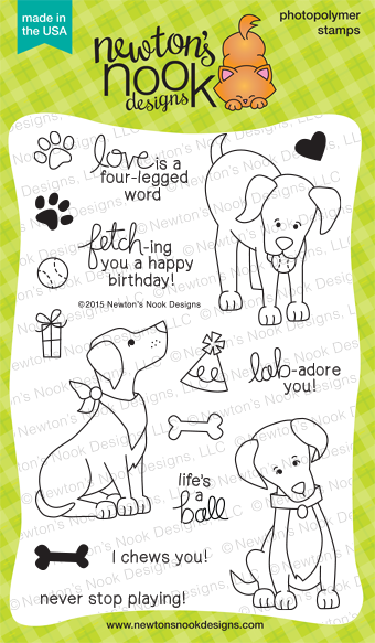 Fetching Friendship | 4x6 photopolymer Labrador Dog Birthday Stamp Set | Newton's Nook Designs