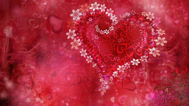 Rode liefde achtergrond met hartjes