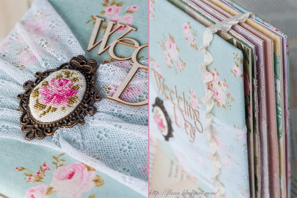 обложка альбом ткань тильда крежево вышивка роза