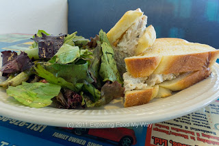 Homemade Chicken Salad on Challah with Dressed Organic Greens