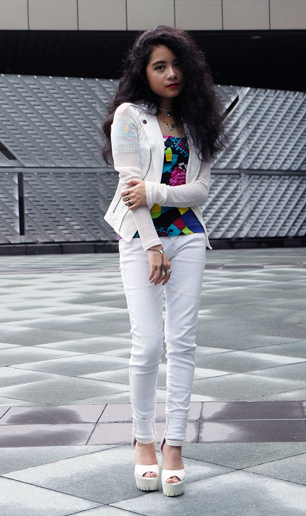 Mesh Up, Material Girl White Mesh Inset Blazer, vintage Off-The-Shoulder Top, White Skinny Jeans, Chunky White Platform Heels, Playful & Snazzy Jewels, Handmade Jewelry, Chunky Crystal necklace, Crystal Handpiece, Swarovski, Curls, White outfit, BK Nail Polish, peelable nail polish, Jem and The Holograms inspired look