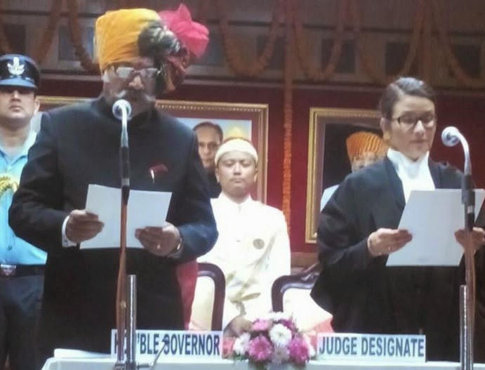 Justice Meenakshi Rai the first woman Judge of Sikkim with Governor Mr. Shriniwas Patel