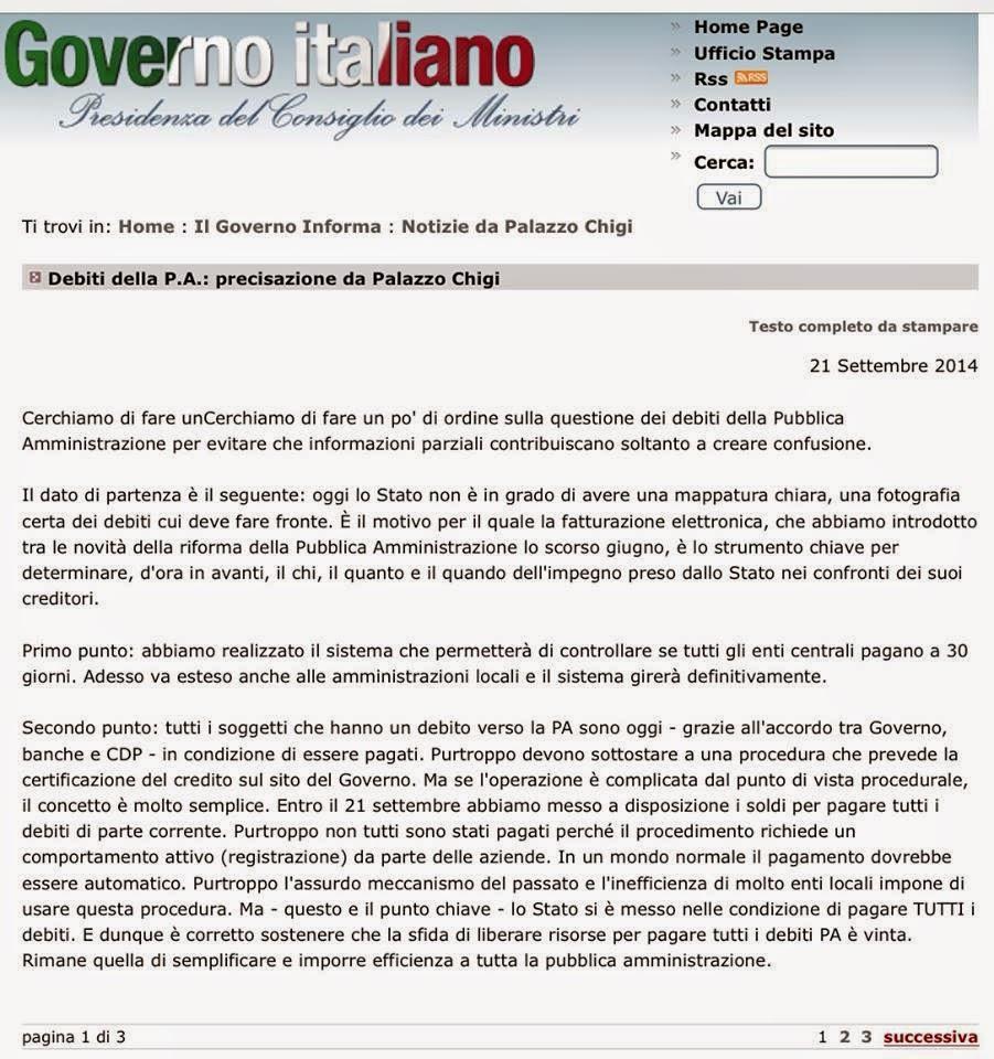 Mercato libero da paura ecco la nota comparsa sul sito for Sito governo italiano