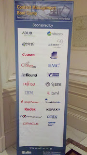 List of sponsors of the AIIM Content Management Boot Camp