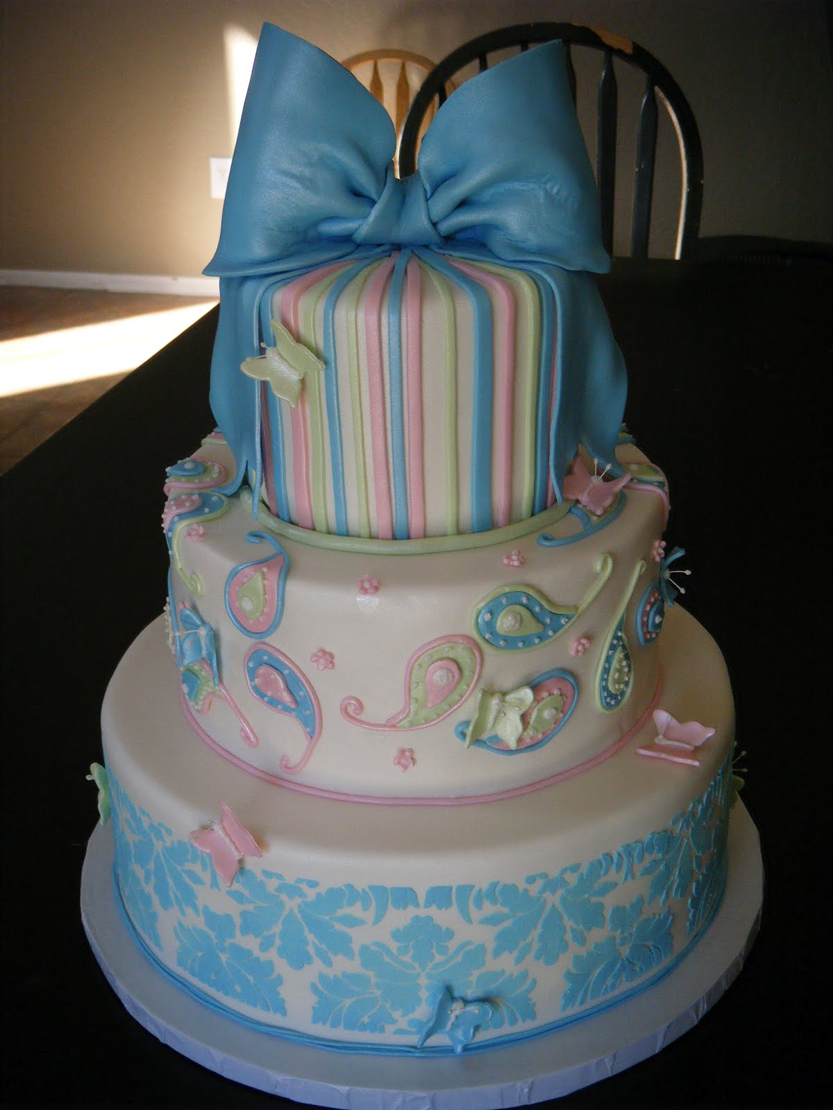 Cassy s Cakes Pastel pink blue and green wedding cake