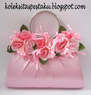 Tas Pesta Baby Pink Flower Cantik dan Mewah Elegant Siap Buat Acara Pernikahan