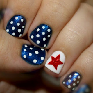 4th of july nail ideas 4th of july polka dot nails with star no comments solutioingenieria Choice Image