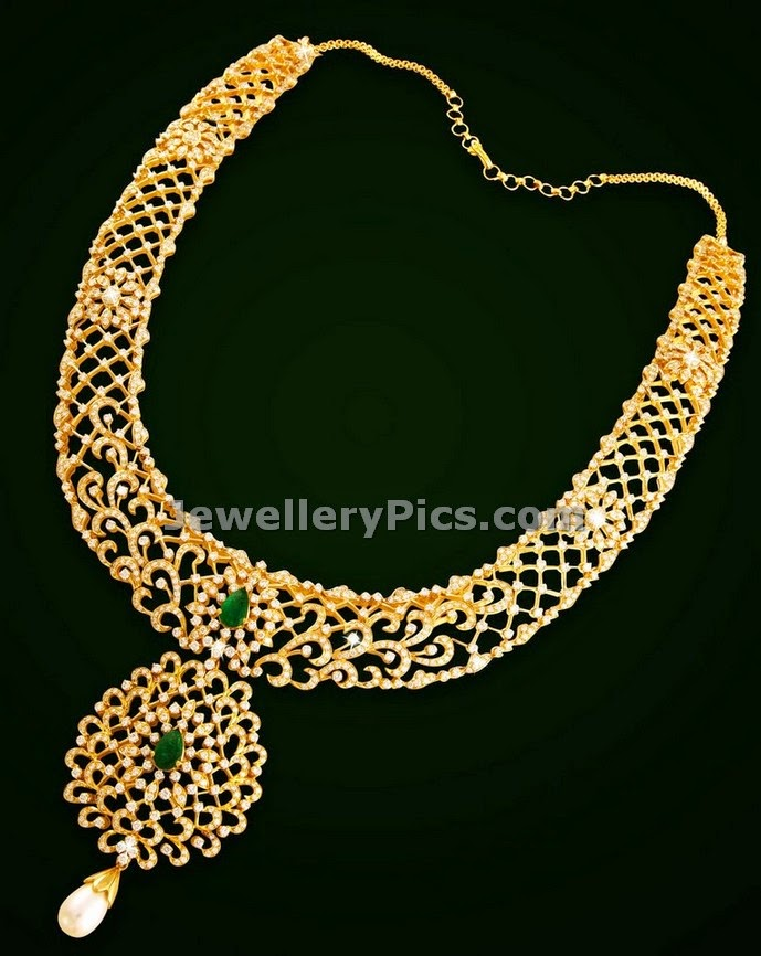 fancy diamond jewellery long chain design by vaibhav jewellers