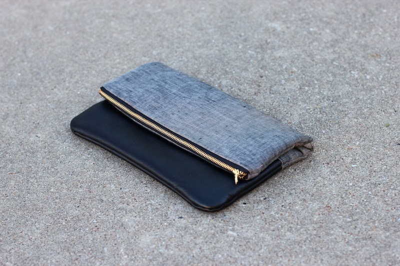 Linen + Salvaged Black Leather Fold-Over Clutch - Sew Beastly