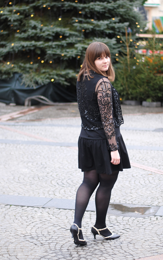 black Christmas outfit lbd sequin jacket