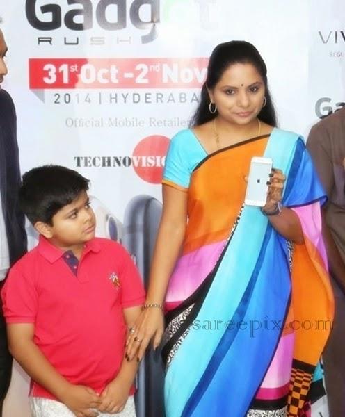 TRS-MP-Kavitha-multi-color-saree