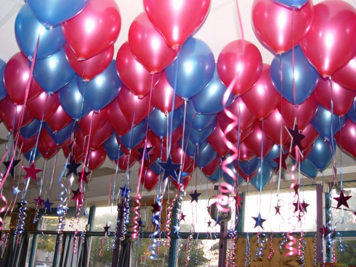 Balloon birthday party decor image inspiration of cake for Balloon decoration ideas for 1st birthday