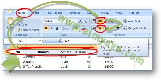 Gambar: Cara mengatur text alignment melalui ribbon di Microsoft Excel