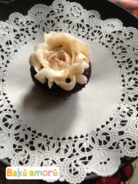 Rose chocolate cupcake with vanilla buttercream frosting