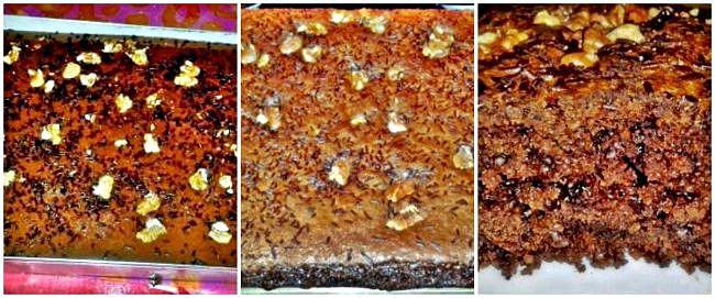 Preparación de la coca de chocolate con avellanas y nueces