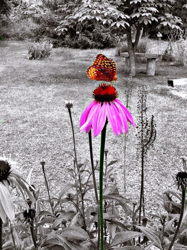 Butterfly Flower Art Chick Studio