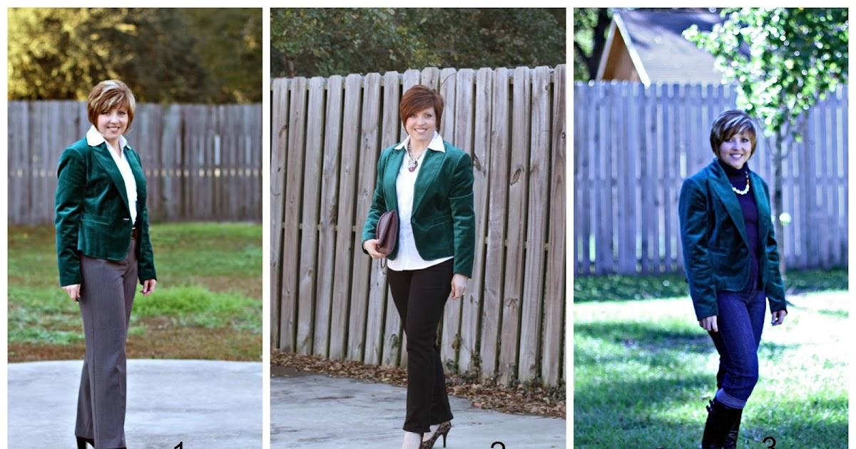 Savvy southern chic emerald velvet blazer 6 ways