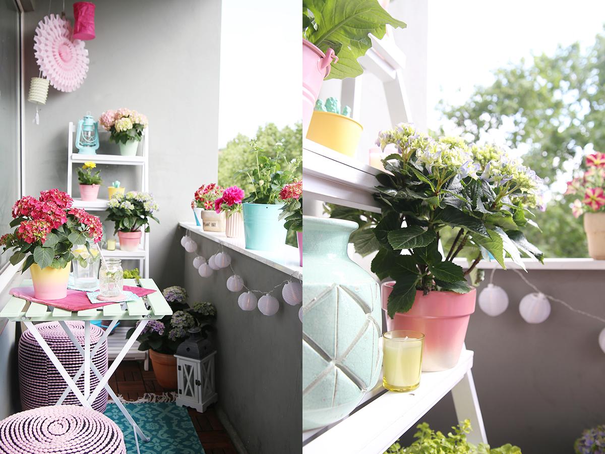 einmal alles in pastell bitte diy balkon umstyling mit der gartenhortensie mein feenstaub. Black Bedroom Furniture Sets. Home Design Ideas