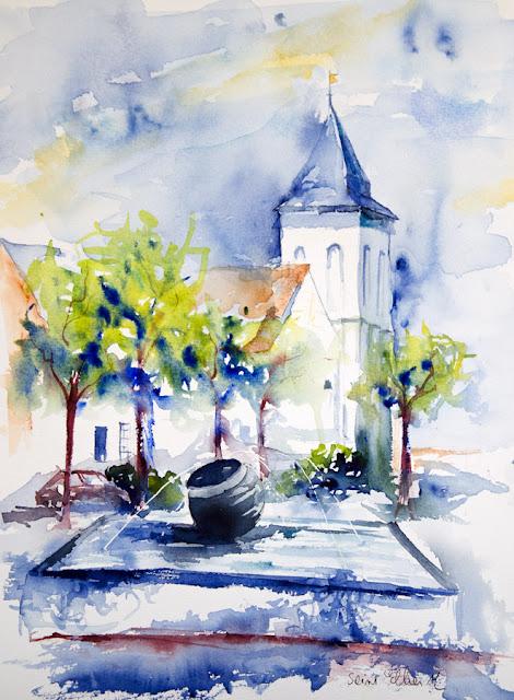 watercolor from Les Rosiers sur Loire - size 30 x 40 cm