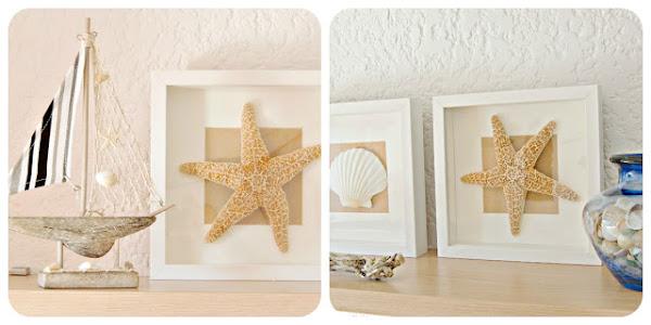 Diy cuadros realizados con conchas y estrellas de mar - Cuadros hechos con piedras de playa ...