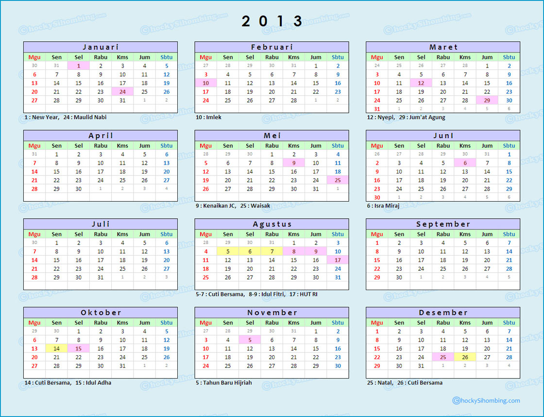 Download Kalender 2013 Indonesia Beserta Hari Libur Nasional (Lengkap)