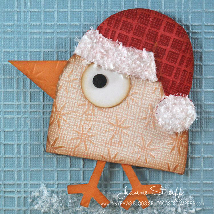 Merry cluckmas quick easy card sizzix blog the start of i hand cut simple santa hat and added some white acrylic paint to the hat band and pom pom after my paint dried i added polar white flower soft for some mightylinksfo