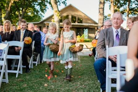 Ryan and Leslie, Processional, Texas Ranch Wedding, Flower Girls