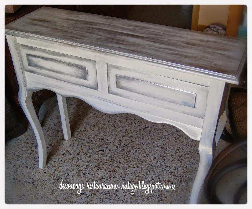 Pintar mueble gris envejecido 20170804091059 - Muebles antiguos pintados de blanco ...
