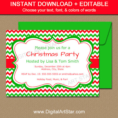 editable holiday invitation template with red & green chevron